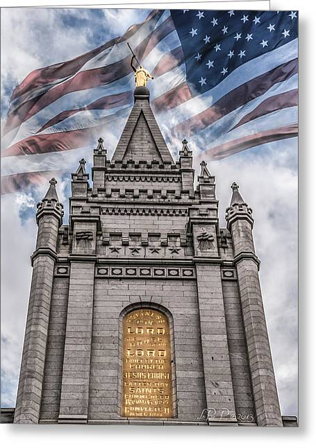 Slc Greeting Cards - God Bless America Greeting Card by La Rae  Roberts
