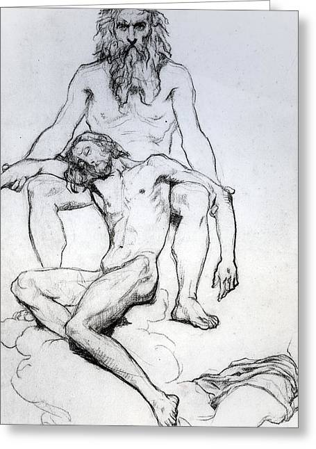 Son Of God Drawings Greeting Cards - God the Father and God the Son Greeting Card by Henri Lehmann
