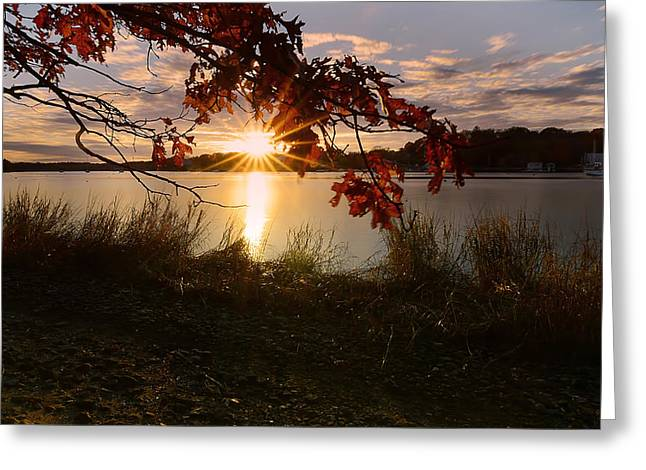 New England Autumn Greeting Cards - Goddard Marina Greeting Card by Lourry Legarde