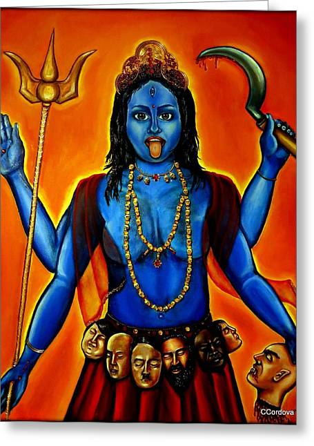 Warrior Goddess Mixed Media Greeting Cards - Goddess Kali  Greeting Card by Carmen Cordova
