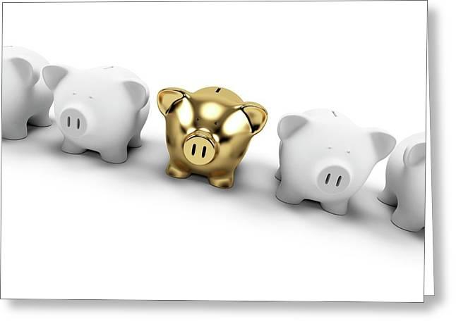 Gold And White Piggy Banks Greeting Card by Sebastian Kaulitzki