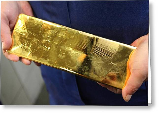 Valuable Greeting Cards - Gold refinery Greeting Card by Science Photo Library