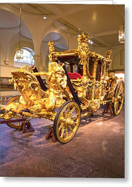 Gold State Coach Queen Elizabeth II Greeting Card by David French