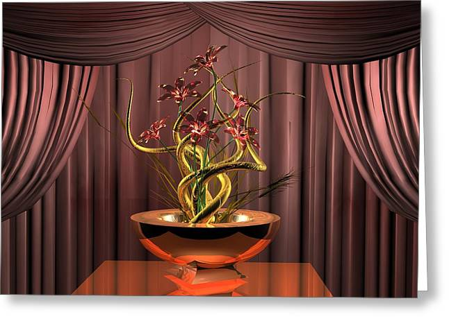 Floral Digital Art Greeting Cards - Gold twist red flower Greeting Card by Louis Ferreira