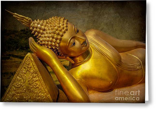 Religious Digital Art Greeting Cards - Golden Buddha Greeting Card by Adrian Evans
