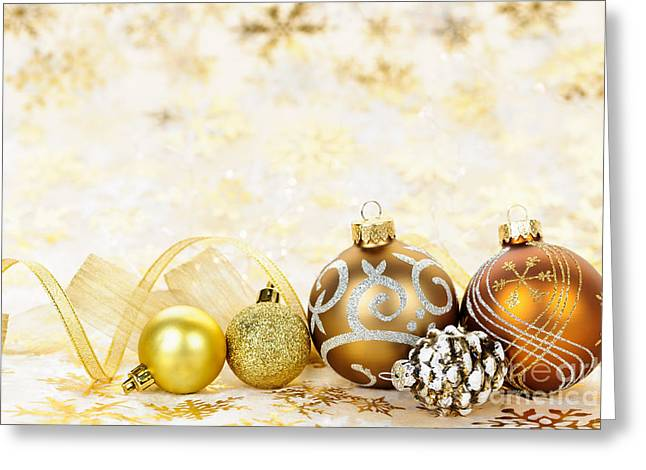 Christmas Greeting Photographs Greeting Cards - Golden Christmas ornaments  Greeting Card by Elena Elisseeva