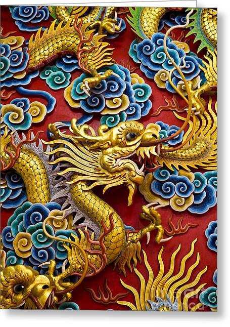 Bayonet Greeting Cards - Golden dragon statue Greeting Card by Tosporn Preede