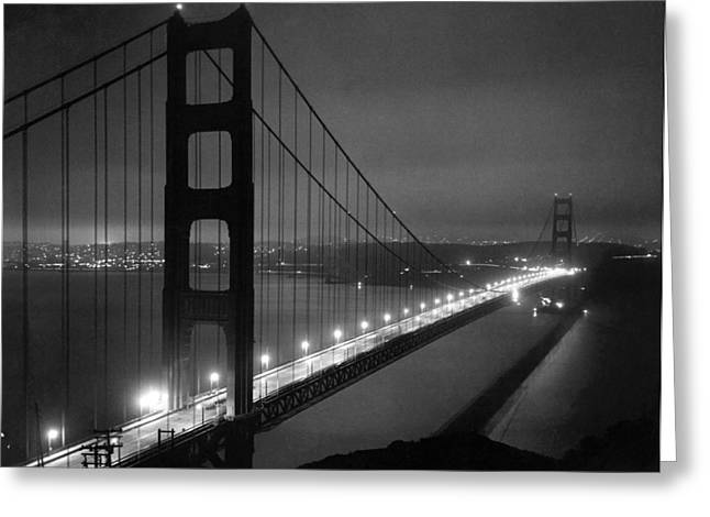 Bay Bridge Greeting Cards - Golden Gate Bridge At Night Greeting Card by Underwood Archives