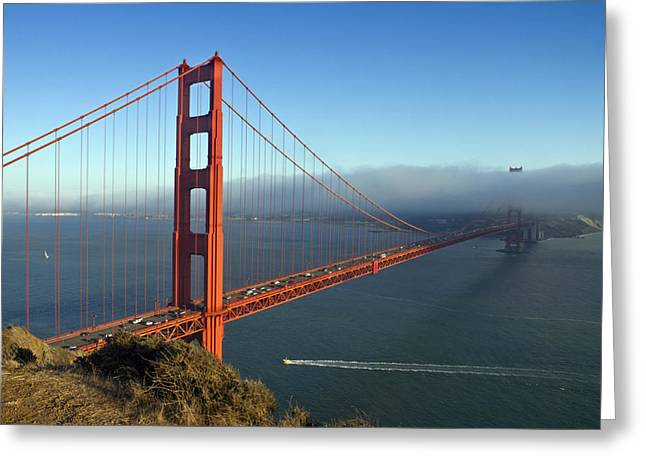 Downtown San Francisco Greeting Cards - Golden Gate Bridge Greeting Card by Melanie Viola