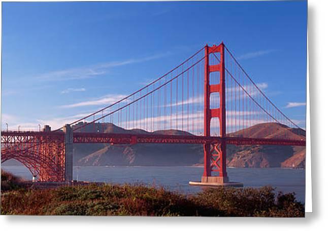 Skewed Greeting Cards - Golden Gate Bridge San Francisco Greeting Card by Panoramic Images