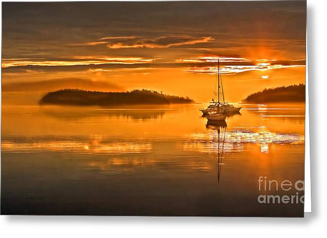 Yellow Sailboats Greeting Cards - Golden  Sunrise Greeting Card by Robert Bales