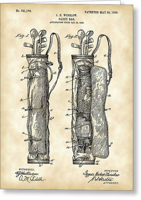 Bags Greeting Cards - Golf Bag Patent 1905 - Vintage Greeting Card by Stephen Younts