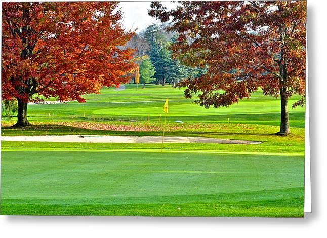 Augusta National Golf Greeting Cards - Golf Course Beauty Greeting Card by Frozen in Time Fine Art Photography