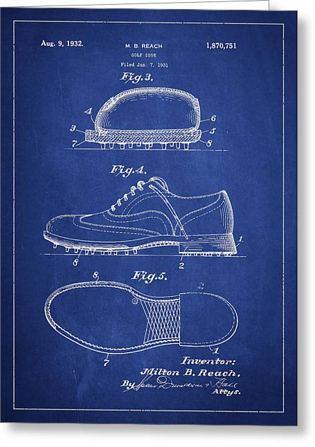 Footwear Greeting Cards - Golf shoe Patent Drawing From 1931 Greeting Card by Aged Pixel