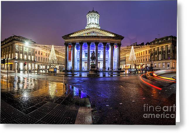 Night Scene Prints Greeting Cards - GOMA Glasgow Greeting Card by John Farnan