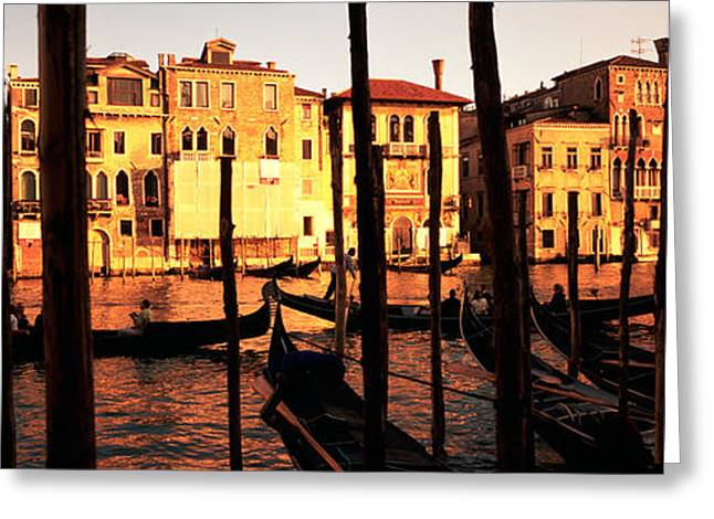 Wooden Building Greeting Cards - Gondolas In A Canal, Venice, Italy Greeting Card by Panoramic Images