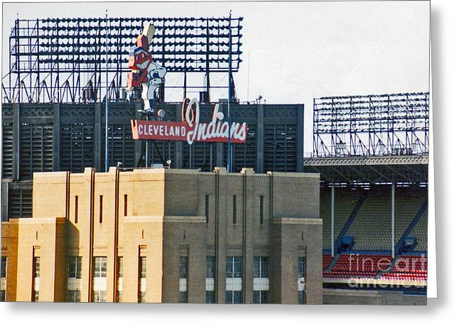 Cleveland Indians Greeting Cards - Good Times Bad Times Greeting Card by Kenneth Krolikowski
