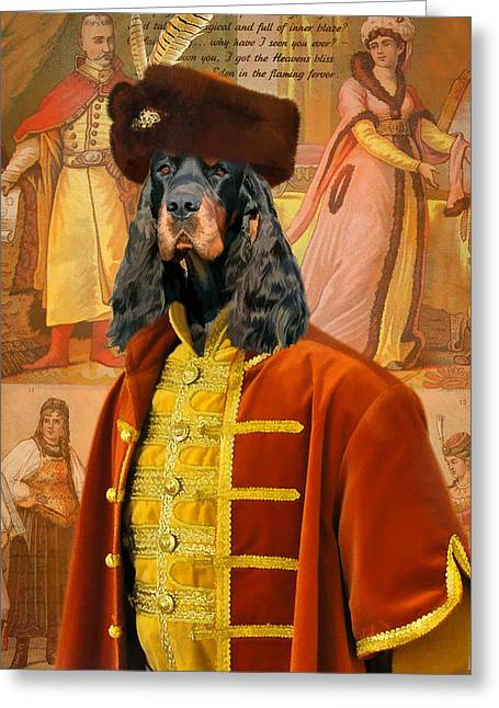 Setters Greeting Cards - Gordon  Setter Art Canvas Print Greeting Card by Sandra Sij