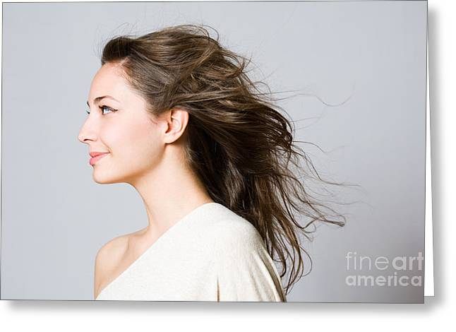 Side-swept Hair Greeting Cards - Gorgeous young brunette woman. Greeting Card by Alstair Thane