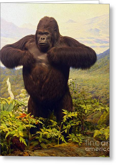 Gregory Dyer Digital Greeting Cards - Gorilla Greeting Card by Gregory Dyer