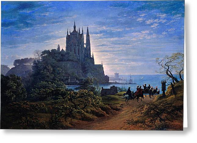 Karl Friedrich Schinkel Greeting Cards - Gothic Church on a Rock by the Sea Greeting Card by Celestial Images