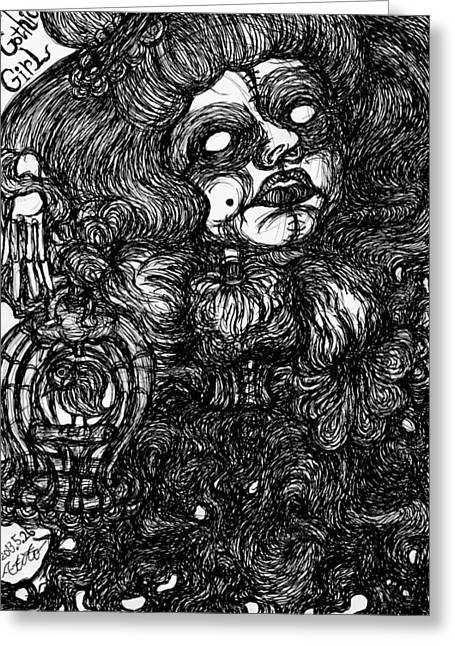 Analog Drawings Greeting Cards - Gothic Lady Greeting Card by Akiko Kobayashi
