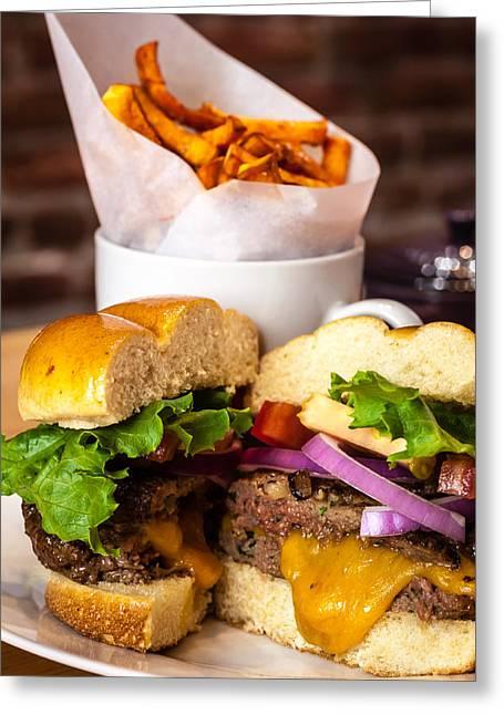 Cheese Burger Greeting Cards - Gourmet Pub Hamburger Greeting Card by Teri Virbickis