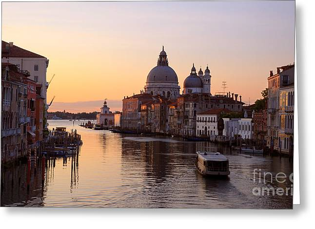 Cupola Greeting Cards - Grand Canal at sunrise -  Venice - Italy Greeting Card by Matteo Colombo