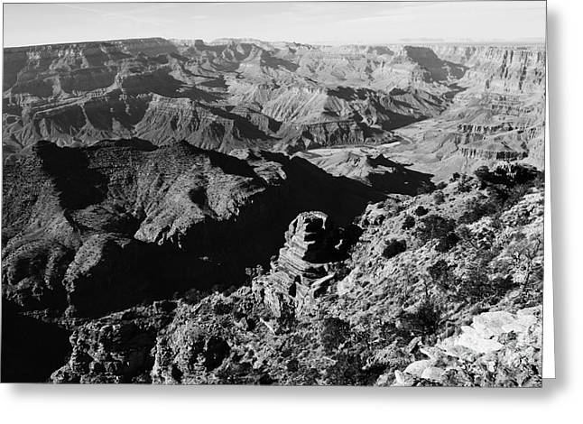 Grand Canyon Photographs Greeting Cards - Grand Canyon Eastern Sunset View Black and White Greeting Card by Shawn O