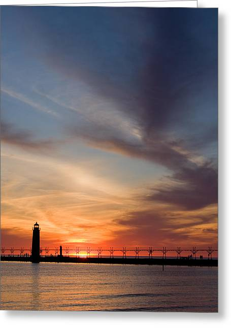 Breakwater Greeting Cards - Grand Haven Lighthouse Greeting Card by Adam Romanowicz