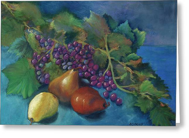 Grape Leaves Pastels Greeting Cards - Grapes and Pears Greeting Card by Antonia Citrino