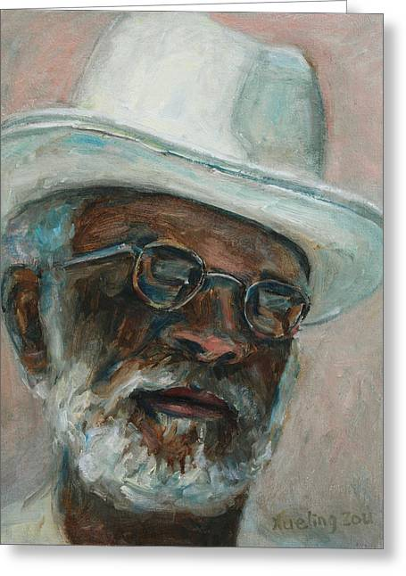 California Art Greeting Cards - Gray Beard Under White Hat Greeting Card by Xueling Zou