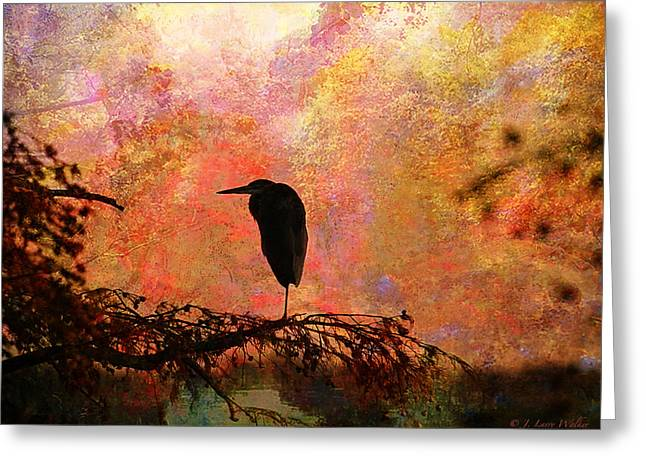 Cypress Tree Digital Art Greeting Cards - Great Blue Heron Greeting Card by J Larry Walker