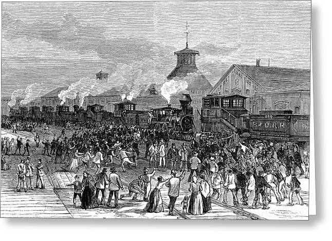 Ohio History Greeting Cards - Great Railroad Strike, 1877 Greeting Card by Photo Researchers
