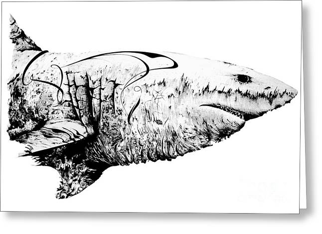 White Shark Drawings Greeting Cards - Great White Mommy Greeting Card by Penelope Fedor