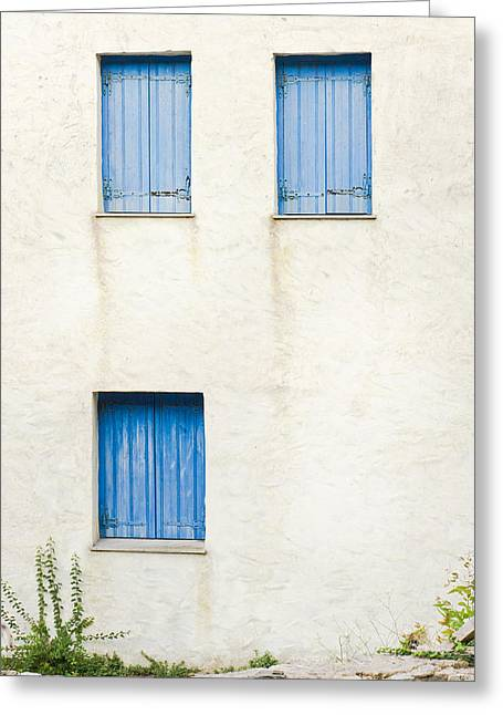 Plaster Greeting Cards - Greek house Greeting Card by Tom Gowanlock