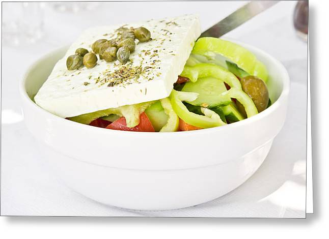 Appetizer Greeting Cards - Greek salad Greeting Card by Tom Gowanlock