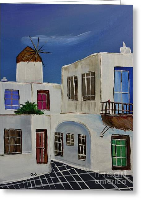 Cupola Paintings Greeting Cards - Greek Village Greeting Card by Janice Rae Pariza