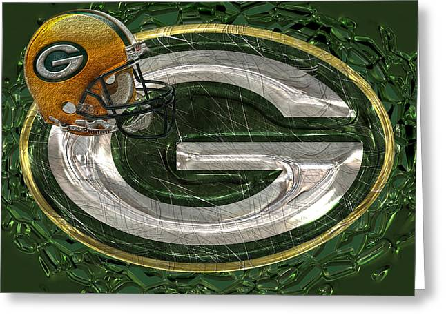 Player Greeting Cards - Green Bay Packers Greeting Card by Jack Zulli