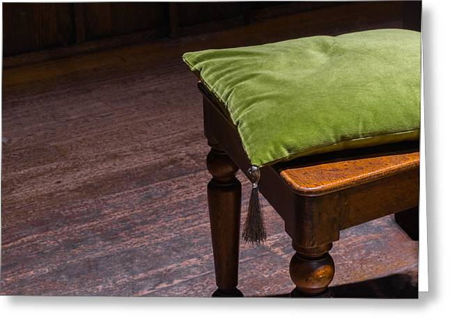 Indoor Still Life Greeting Cards - Green Cushion on Wooden Chair Greeting Card by Chay Bewley