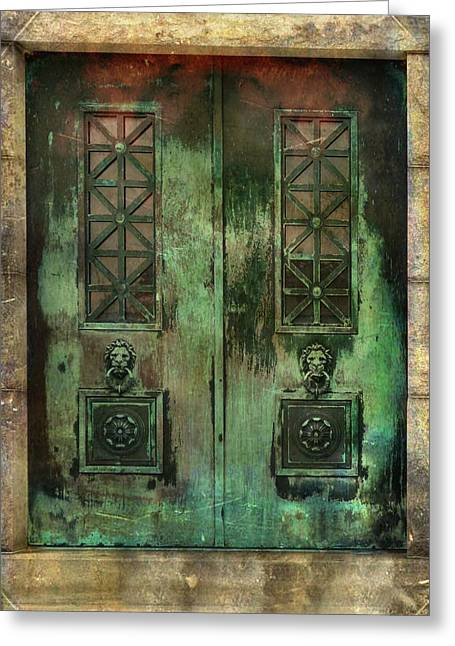 Patina Digital Art Greeting Cards - Green Doors Greeting Card by Gothicolors Donna Snyder