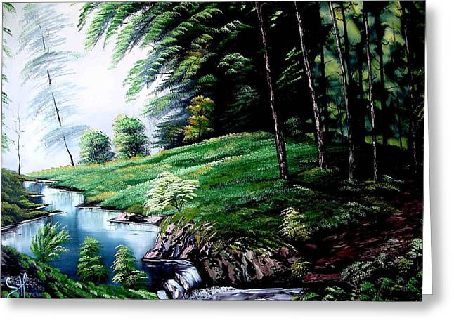Bob Ross Paintings Greeting Cards - Green Forest Greeting Card by Shirwan Ahmed