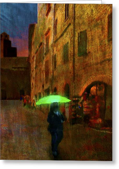 Sienna Italy Greeting Cards - Green Umbrella Greeting Card by Patrick J Osborne