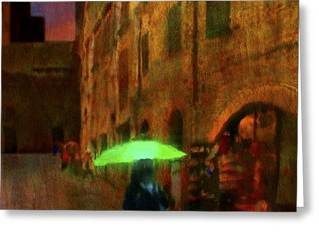 Green Umbrella Greeting Card by Patrick J Osborne