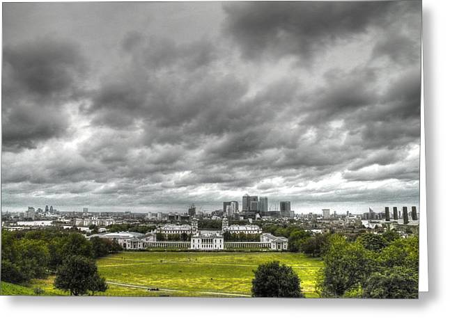 Naval College Greeting Cards - Greenwich and Docklands HDR Greeting Card by David French