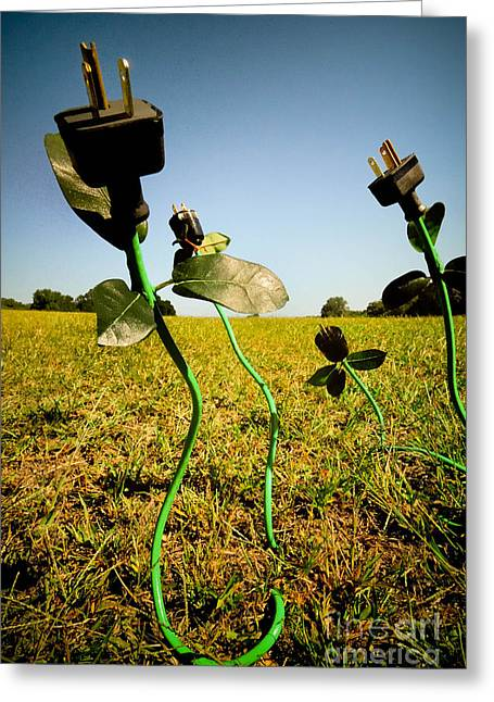 Electrical Plug Greeting Cards - Growing Green Energy Greeting Card by Amy Cicconi