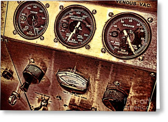 Machine Photographs Greeting Cards - Grunge Gauges  Greeting Card by Olivier Le Queinec