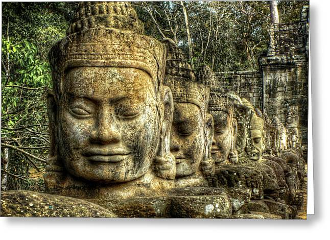 Carved Stone Greeting Cards - Guardians of Angkor Thom Greeting Card by Douglas J Fisher