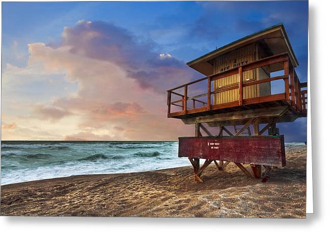 Florida House Greeting Cards - Guarding the Beach Greeting Card by Debra and Dave Vanderlaan