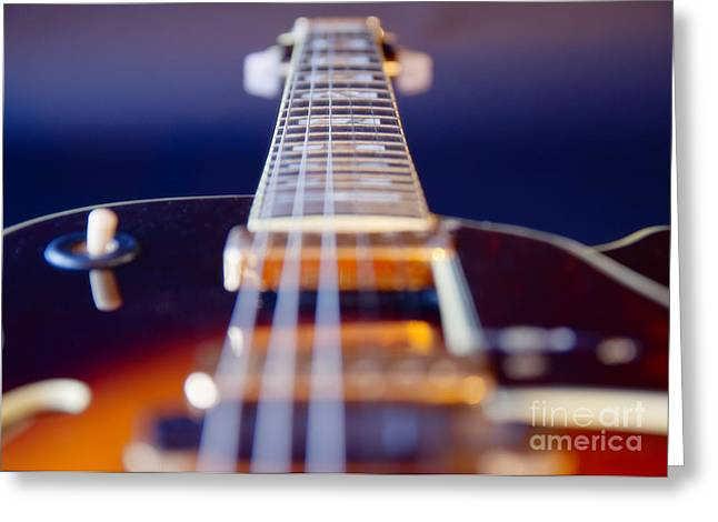 Brown Toned Art Greeting Cards - Guitar Greeting Card by Stylianos Kleanthous